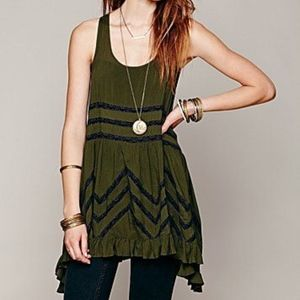 Free People Voile And Lace Trapeze Dress M